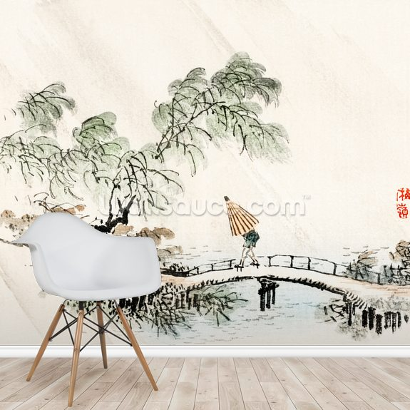 A Man Crossing the Bridge wallpaper mural room setting