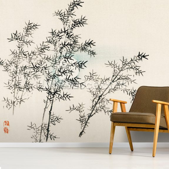 Bamboo mural wallpaper room setting