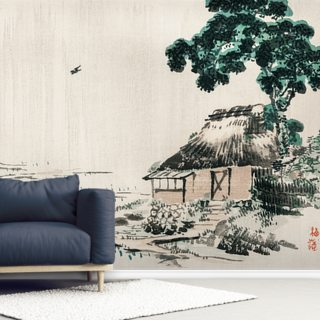 Cottage in a Field Wallpaper Wall Murals
