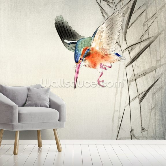 Kingfisher Hunting for Fish in the Water mural wallpaper room setting