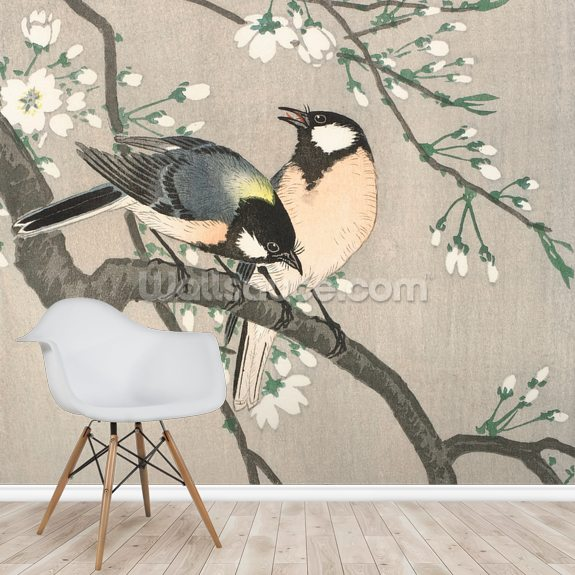 Tits on Cherry Branch mural wallpaper room setting