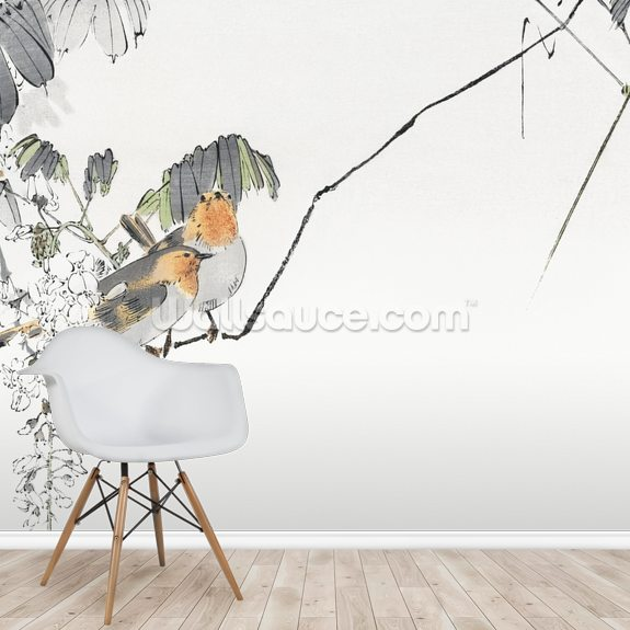 Two Sparrows Perched on a Branch wallpaper mural room setting