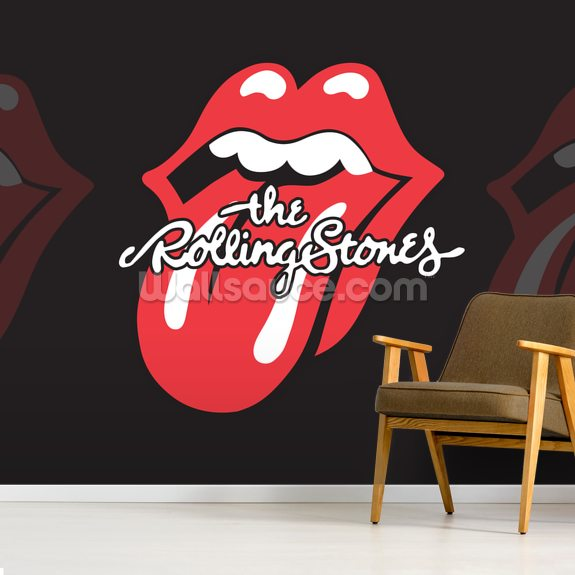 The Rolling Stones Tongue wall mural room setting