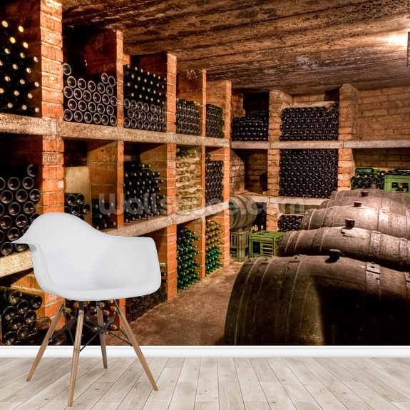 Wine Bottles mural wallpaper room setting