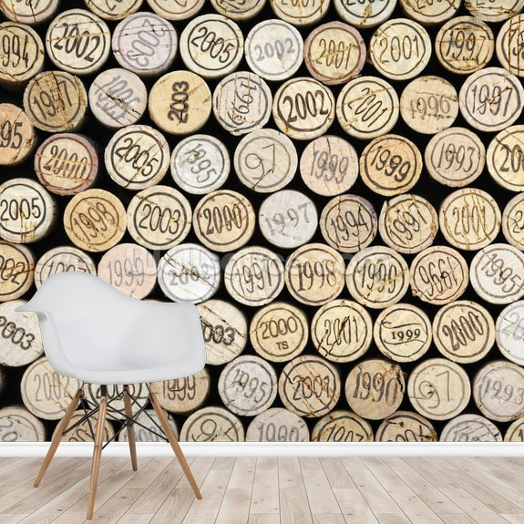 Wine Corks Stacked wall mural room setting