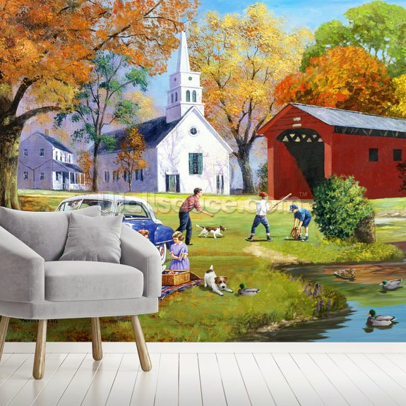 Family Time by the River wallpaper mural room setting