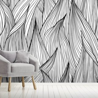 black ink leaves wallpaper mural