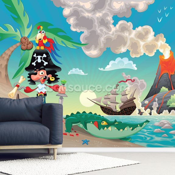 Pirate Island and Volcano wallpaper mural room setting