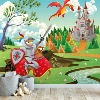 Brave Knight, Castle and Dragon Wallpaper Wall Murals