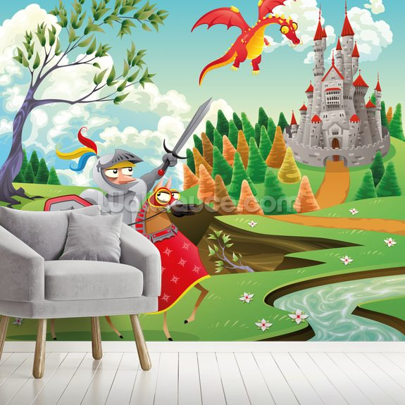 Brave Knight, Castle and Dragon wall mural room setting