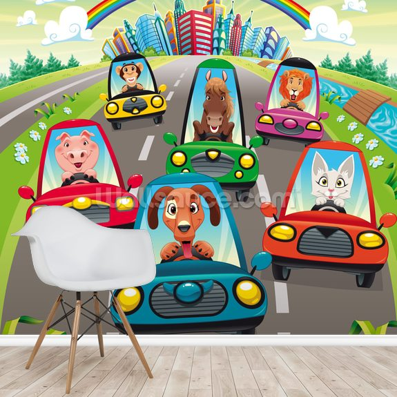 Colourful Cars mural wallpaper room setting