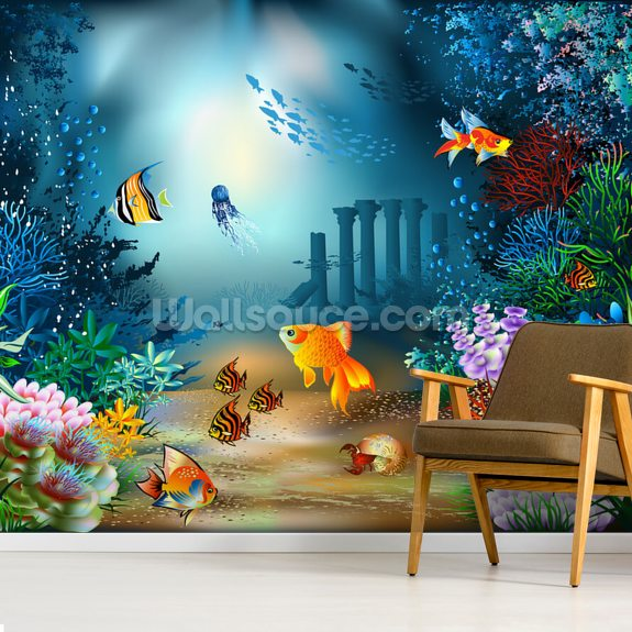 Underwater World wall mural room setting