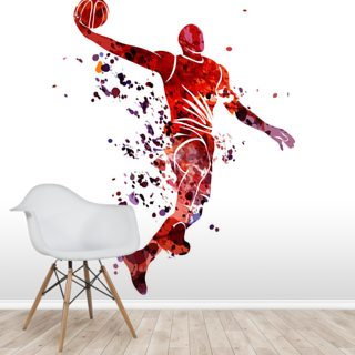 Basketball Shot Watercolour Wallpaper Wall Murals
