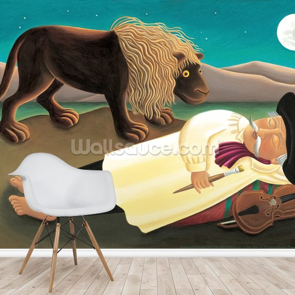 Henri and the Lion wall mural room setting