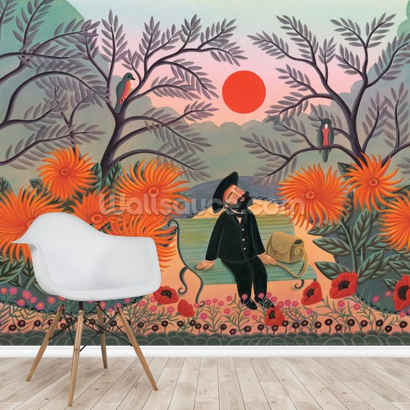 Henri in the Park mural wallpaper room setting