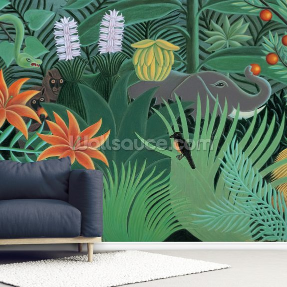 Henri's Jungle mural wallpaper room setting