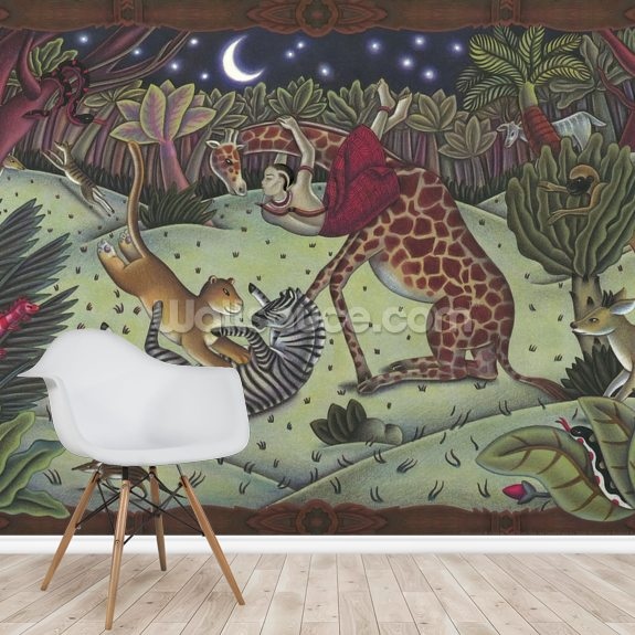 Leopard and the Flora Forest mural wallpaper room setting