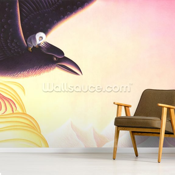 Raven and Little Darkness mural wallpaper room setting
