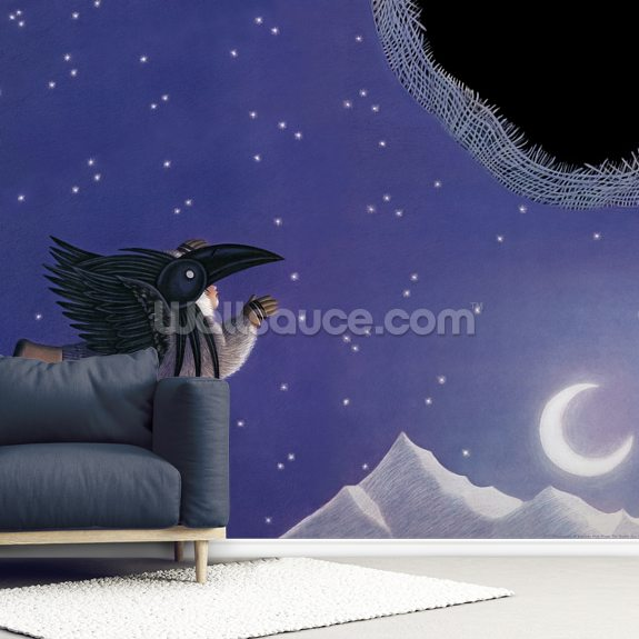 Raven Sky Hole wallpaper mural room setting