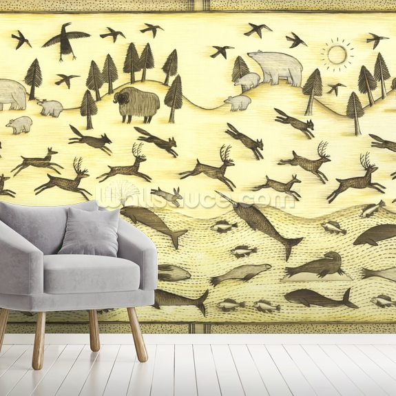 Raven's Creatures wall mural room setting