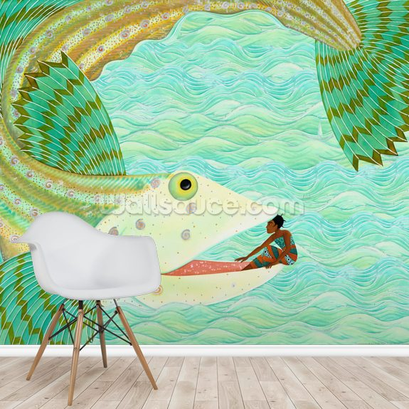 The Great Fish wallpaper mural room setting