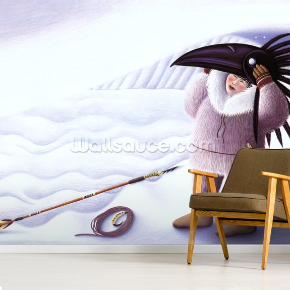 The Raven Mask mural wallpaper room setting
