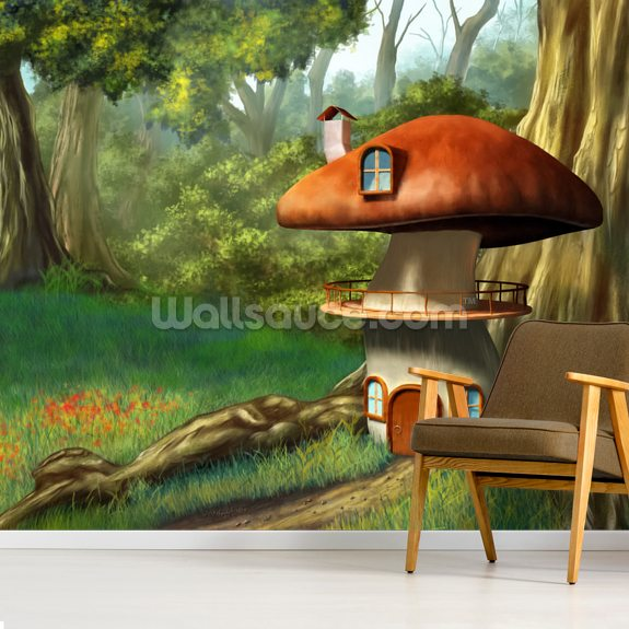 Mushroom House wallpaper mural room setting