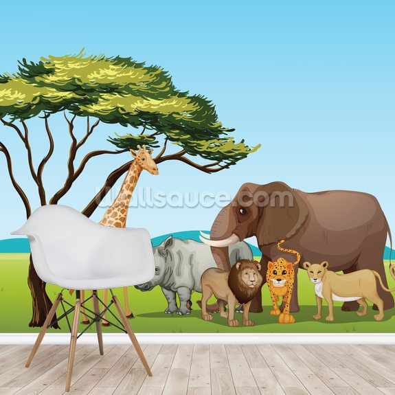 African Safari Cartoon wallpaper mural room setting