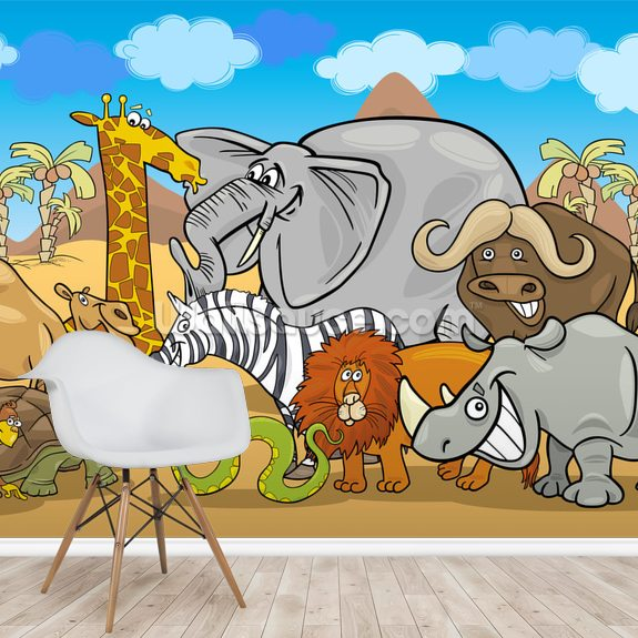 Wild Animals wall mural room setting