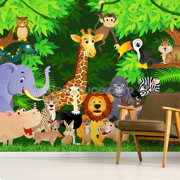 Animals In the Jungle wallpaper mural room setting