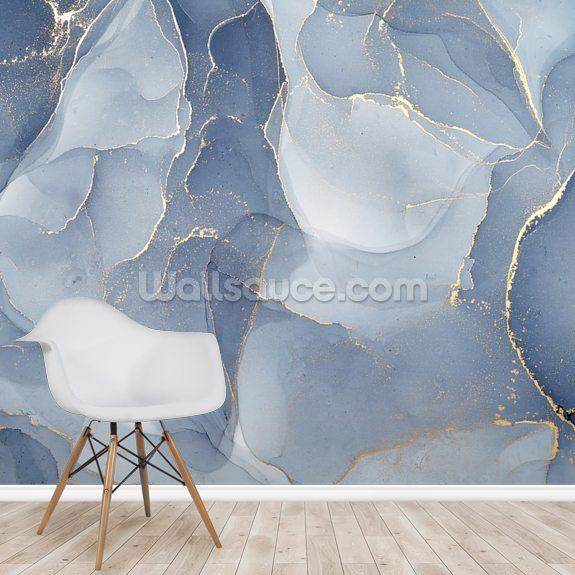 Overlapping Shades of Blue wallpaper mural room setting