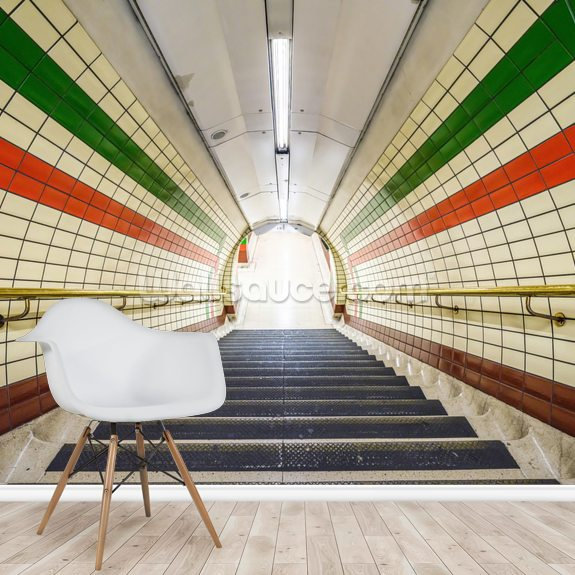 Green and Orange Tunnel mural wallpaper room setting