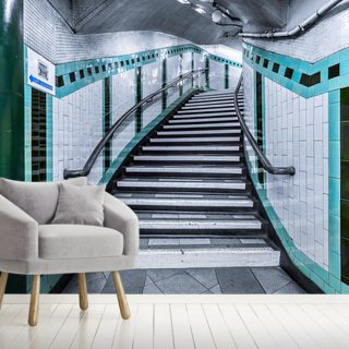 Turquoise Curve Stairs Underground Wallpaper Wall Murals