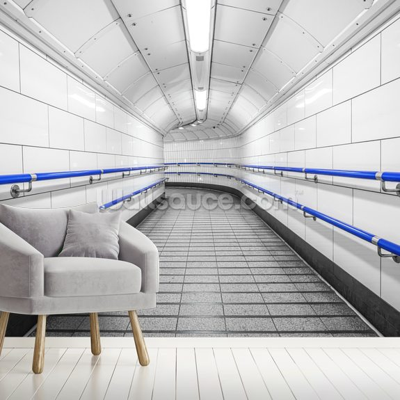 Blue and White Underground wallpaper mural room setting