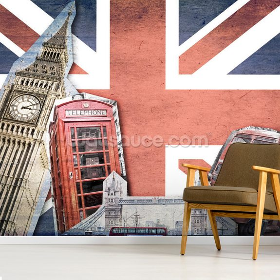 Union Jack London Collage wall mural room setting
