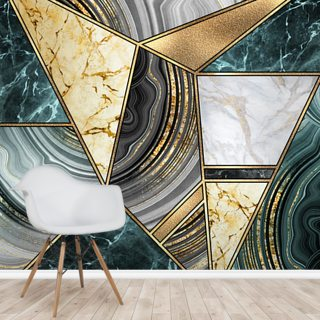 Deep Teal Marble and Gold