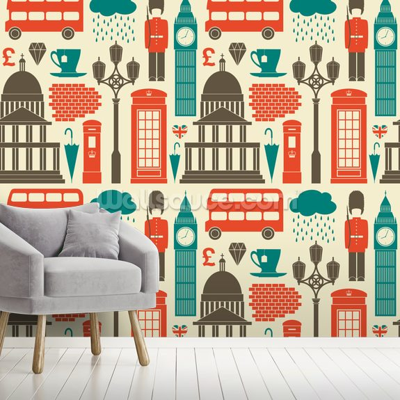 London Background wall mural room setting