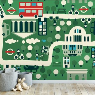 London Cartoon Map Wallpaper Wall Murals