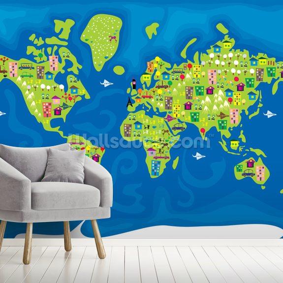 Cartoon World Map Mural Wallpaper Room Setting