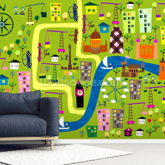 Cartoon Map of London mural wallpaper room setting