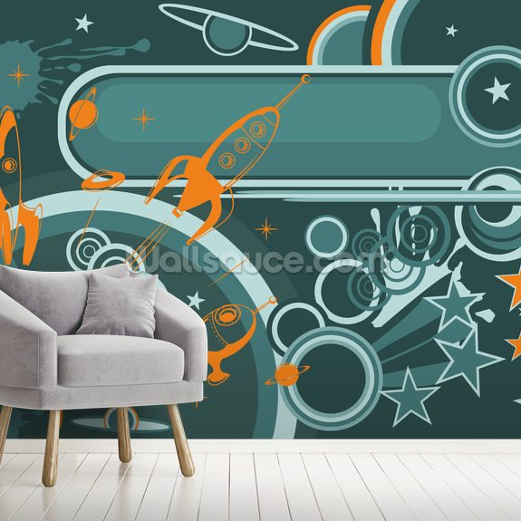 Space Abstract mural wallpaper room setting