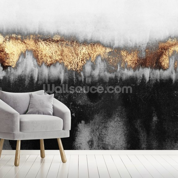 Golden Industrial mural wallpaper room setting