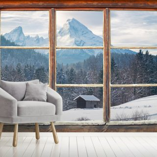 Snowy Mountain Window View
