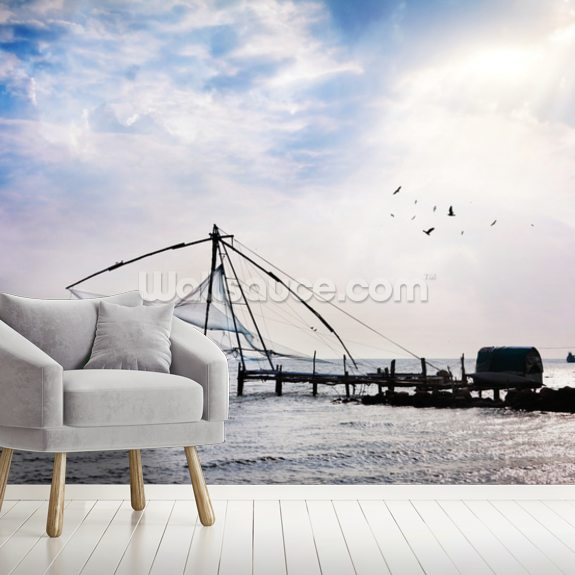 Chinese Fishing Net mural wallpaper room setting