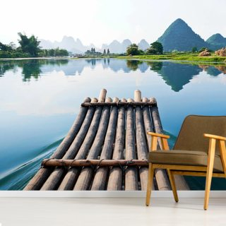 Bamboo Rafting on Li River Wallpaper Wall Murals