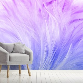 Lilac and Blue Feather Print