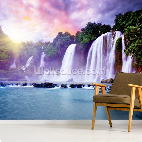 Banyue Waterfall wallpaper mural room setting