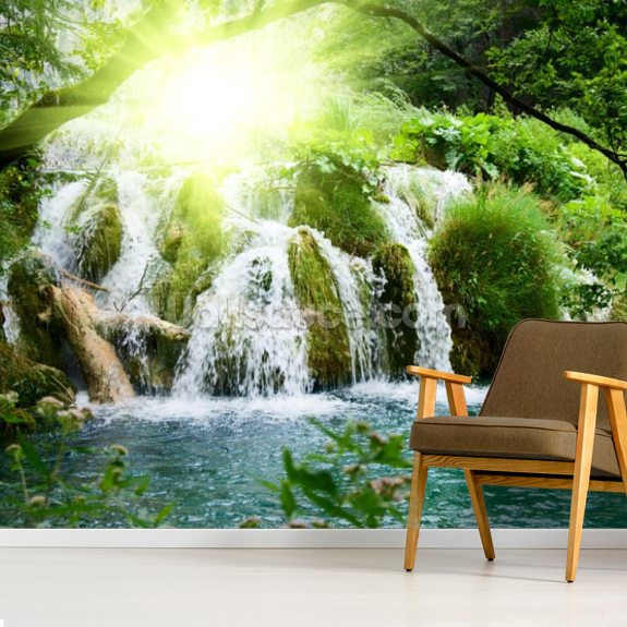 Forest Waterfall mural wallpaper room setting