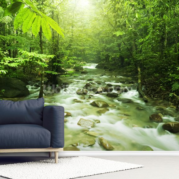 Forest River wall mural room setting