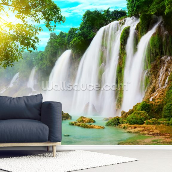 Detian Waterfall wallpaper mural room setting